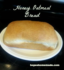 bread machine honey oatmeal bread